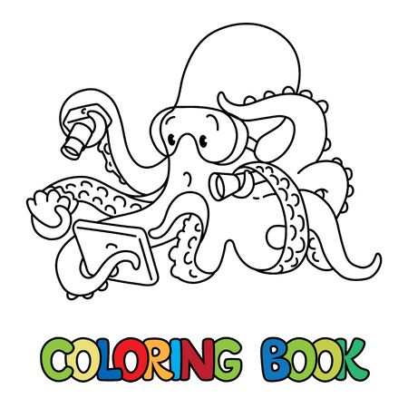 Octopus oceanographer ABC coloring book Alphabet O