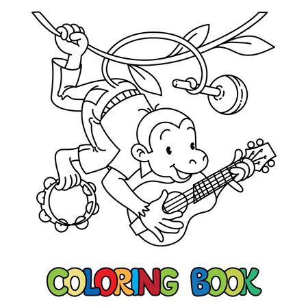Monkey musician ABC coloring book. Alphabet M Çizim