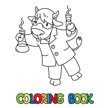 Cow chemist ABC coloring book. Alphabet C  イラスト・ベクター素材