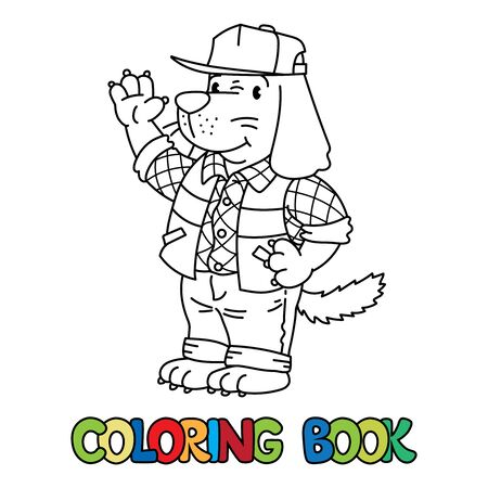 Dog driver ABC coloring book. Alphabet D Çizim