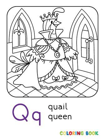 Quail queen ABC coloring book. Alphabet Q