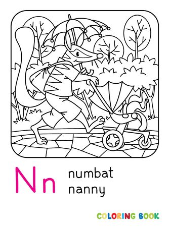 Numbat nanny. Coloring book of funny numbat, nanny with a baby walking with the umbrella. Animals with profession ABC Children vector illustration. Alphabet N for kids