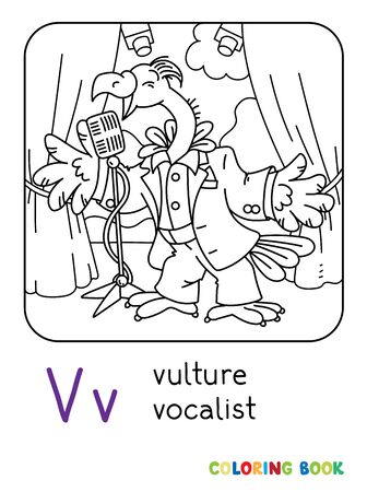Funny vulture singer or vocalist ABC coloring book