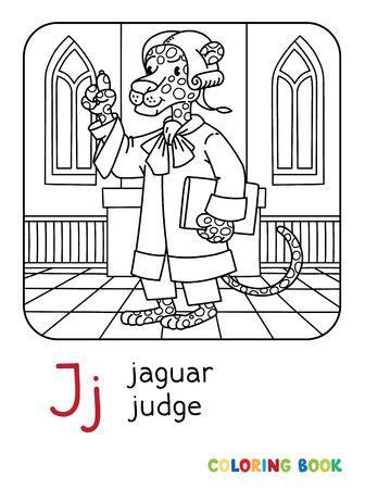Jaguar judge ABC coloring book Alphabet J