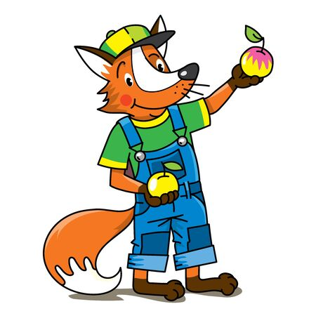 Fox farmer ABC Alphabet F for kids Illusztráció