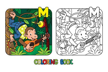 Monkey musician ABC coloring book. Alphabet M Illustration
