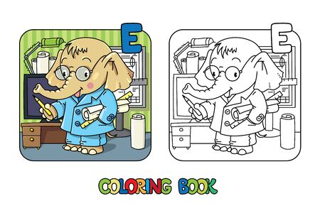 Elephant engineer ABC coloring book. Alphabet E