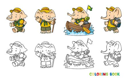 Little baby elephant. Scout camp Coloring book set