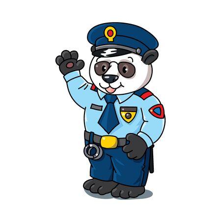 Panda policeman. Animal and professions Alphabet P Illustration