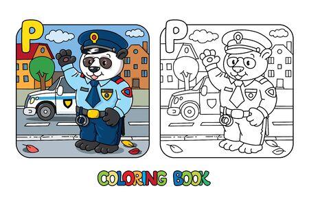 Panda policeman coloring book. Animal Alphabet P Illustration