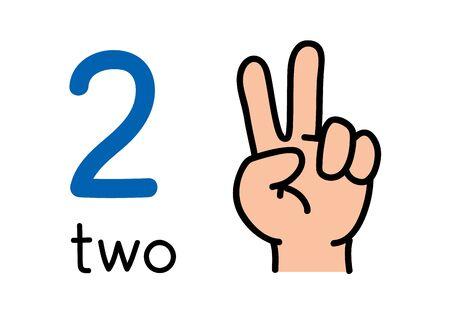 2, mano de niños que muestra el signo de la mano número dos.