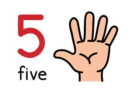 5, ręka dzieci pokazująca znak ręki numer pięć. Ilustracje wektorowe