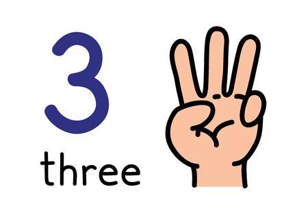 3, mano de niños que muestra el signo de la mano número tres.