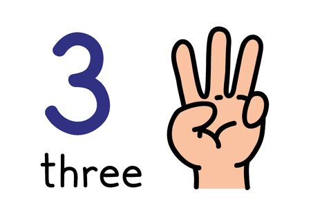 3, mano dei bambini che mostra il segno della mano numero tre.