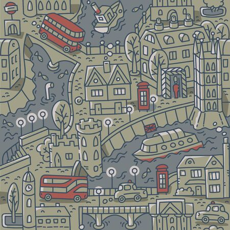 London. City seamless pattern Roads, houses, river