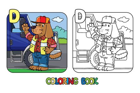 Dog driver ABC coloring book. Alphabet D Vettoriali