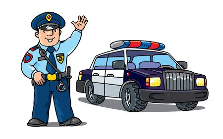 Policeman in uniform and police car. Cartoon set 向量圖像