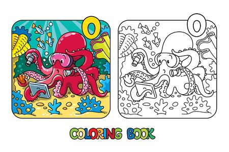 Octopus oceanographer ABC coloring book Alphabet O