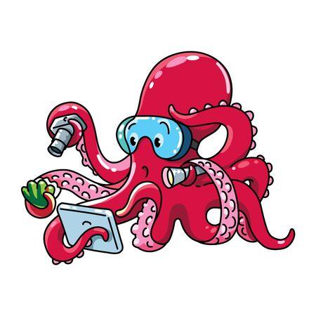 Octopus oceanographer ABC Funny animals alphabet O