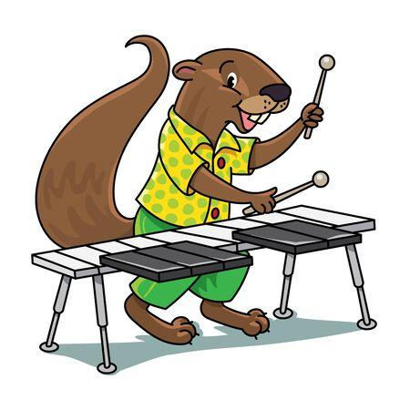 Xerus xylophonist Animals ABC for kids. Alphabet X Vettoriali