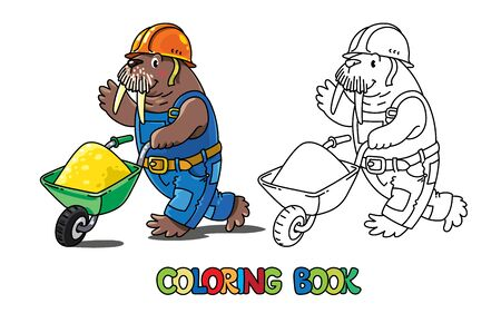 Walrus worker. Animal Alphabet W for kids. Coloring book of little funny Walrus in construction helmet and uniform with cart. Children vector illustration. Animal with profession ABC