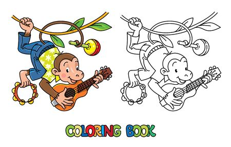 Monkey musician. Coloring book of funny monkey musician or artist with ukulele, maraca and tambourine on lians. Animals with profession ABC. Children vector illustration. Alphabet M for kids