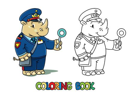 Rhino railroader. Animal Alphabet R for kids. Coloring book of little funny Rhinoceros in peaked cap in uniform of railroader. Children vector illustration. Animal with profession ABC