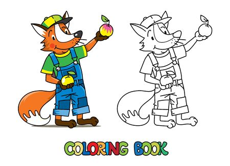 Fox farmer ABC coloring book. Alphabet F