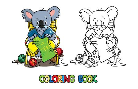 Koala bear knitter. Coloring book of funny smiling knitter. Woman, sitting in a chair, knitting a scarf, surrounded by yarn. Profession ABC series. Children vector illustration. Alphabet K for kids