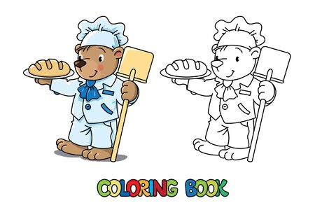 Bear baker. Coloring picture or coloring book of funny bear cook or baker near the wood stove. Animals with profession ABC. Children vector illustration. Alphabet B for kids