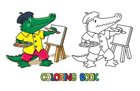 Alligator artist coloring book. Animal Alphabet A