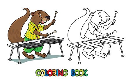 Coloring book of funny musician or xylophone player. Animals with profession ABC. Children vector illustration. Alphabet X for kids  イラスト・ベクター素材