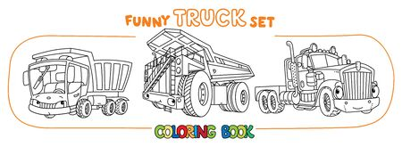 Truck or hauler, lorry, heavy dump truck. Small funny vector cute cars with eyes and mouth. Coloring book set for kids. Children vector illustration