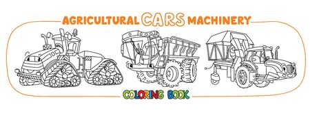 Cotton harvester or combine, self-propelled fertilizer spreader and heavy tractor coloring book for kids. Small funny vector cute cars with eyes. Children vector illustration. Agricultural machinery Illusztráció
