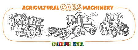 Combine harvester, self-propelled fertilizer spreader and tractor coloring book for kids. Small funny vector cute cars with eyes and mouth. Children vector illustration. Agricultural machinery set