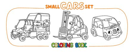 Funny resque vehicle, forklift truck, and small mini car. Small funny vector cute cars set with eyes and mouth. Coloring book set for kids. Children vector illustration Illustration