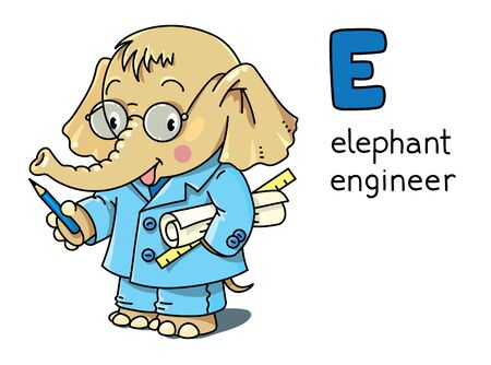 Elephant engineer or inventor in coat with papers or drawings, showing by pencil. Animals with profession ABC Children vector illustration. Funny alphabet E for kids Illustration