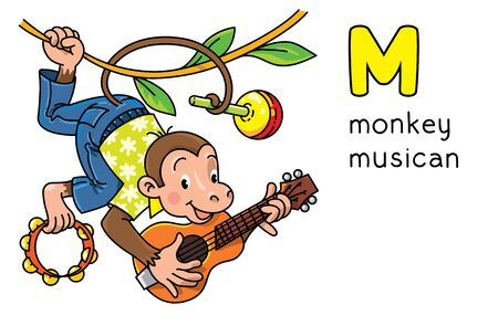 Monkey musician Animals profession ABC. Alphabet M