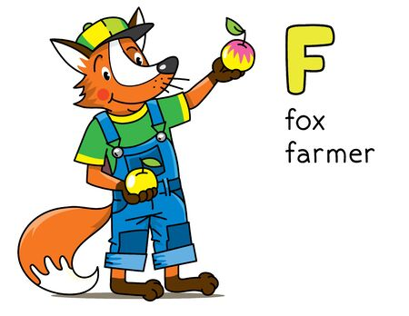 Fox farmer. Animals and profession ABC. Alphabet F