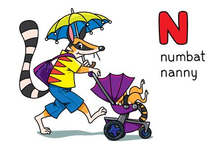 Numbat nanny. Children vector illustration of funny numbat, nanny with a baby walking with the umbrella. Animals with profession ABC. Alphabet N for kids Illustration