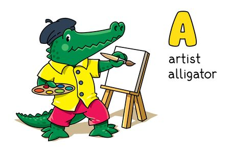Alligator artist. Animal and profession Alphabet A