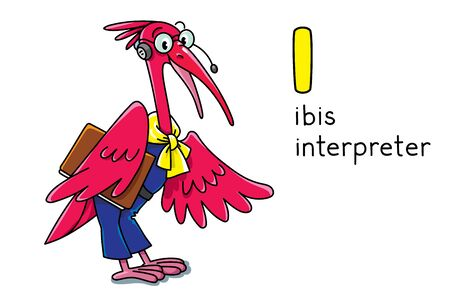 Ibis interpreter or translator. Children vector illustration. A bird in round glasses with folder and headset. Animals with profession ABC. Alphabet I for kids Banque d'images - 136342980