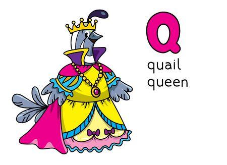 Quail queen Profession and animals ABC. Alphabet Q