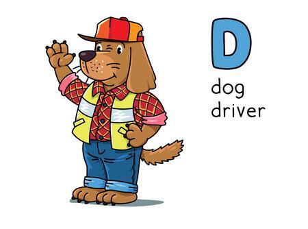 Conductor de perros Animales y profesiones ABC. Alfabeto D
