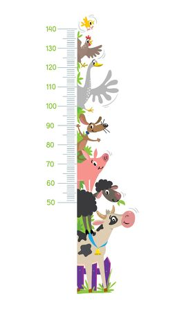 Funny farm animals meter wall or height chart
