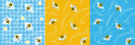 Seamless pattern or background set with funny bees
