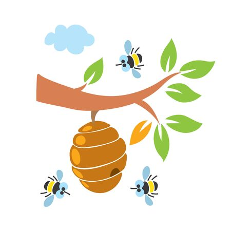 Funny honey bees and bee hive illustration set