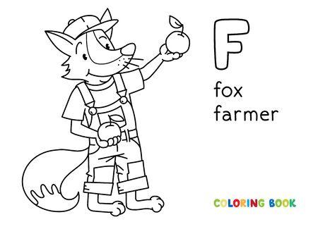 Fox farmer ABC coloring book. Alphabet F