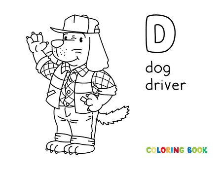 Dog driver or worker, in shirt, vest with reflective stripes and jeans, standing near the truck on the road. Coloring book. Animals with profession ABC Children vector illustration Alphabet D for kids Vettoriali