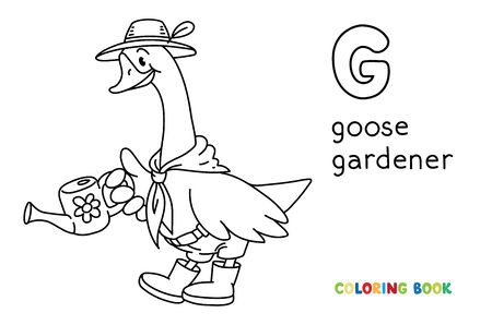 Goose gardener. Coloring book of funny goose in hat and rubber boots with watering can tending the flowers in the garden. Animals with profession ABC. Children vector illustration. Alphabet G for kids